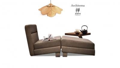 кресло SUE, JO pouf и деревянный стол VIRGOLA