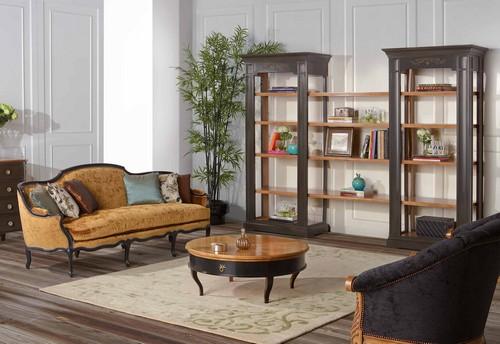 мебель фабрики AM Classic, витрины, кресла, библиотеки и журнальный столик